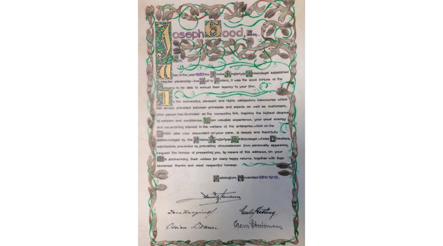 The illuminated address presented by Finland Steamship Company to Joseph Good on his 80th birthday in 1915