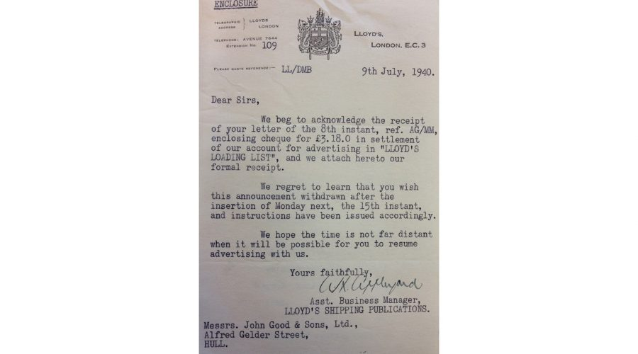 Letter from Lloyds of London to John Good Shipping