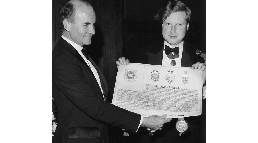 John A Good, as President of the Institute of Chartered Shipbrokers, receiving their new Royal Charter in 1986