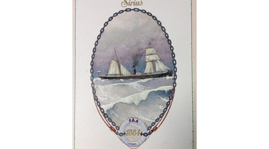 With the illuminated address presented to Joseph Good were two paintings of Finland Steamship Company's vessels. The 'Sirius' was their first vessel to start their regular service between Finland and Hull in 1884.