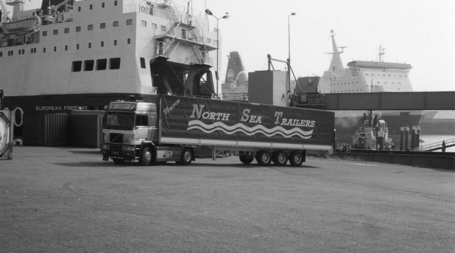 Black and White photo of a North Sea Trailers vehicle