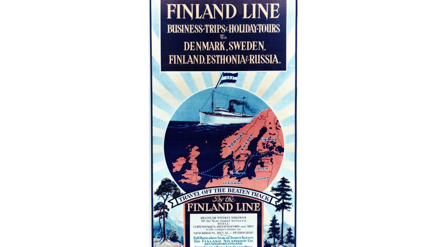 Finland lane poster advertising John Goods twice weekly service to and from Finland and the Baltic