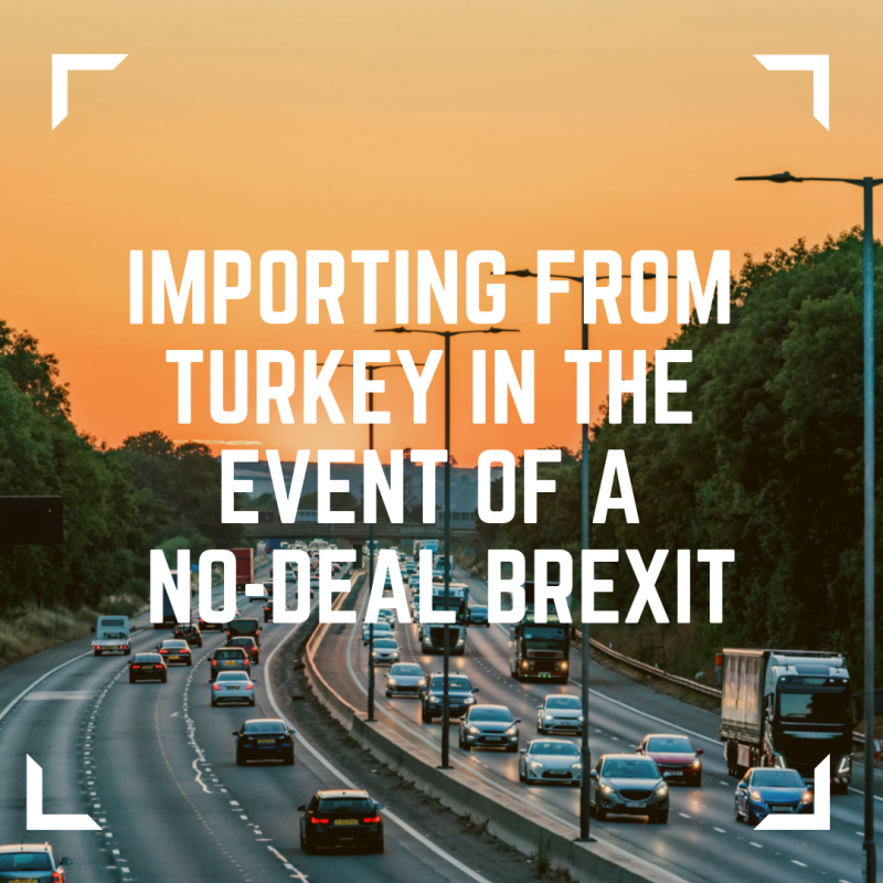 Image of moderate traffic on a UK motorway printed with the text of importing from turkey in the event of a no-deal brexit