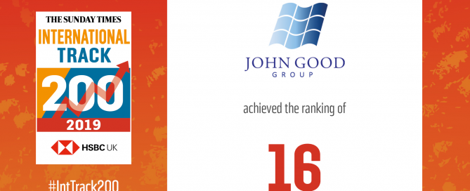 Image of John Good Group's ranking in the sunday times HSBC international track 200 of 2019 award