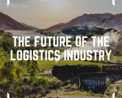 image of the words the future of shipping and logistics along or the future of the logistics industry, in the background we can see a painting of a 1800's locomotive with travelling through Scotland