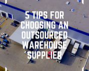 an image of 5 tips for choosing an outsourced warehouse supplier typed onto a picture of a warehouse loading bay's external picture