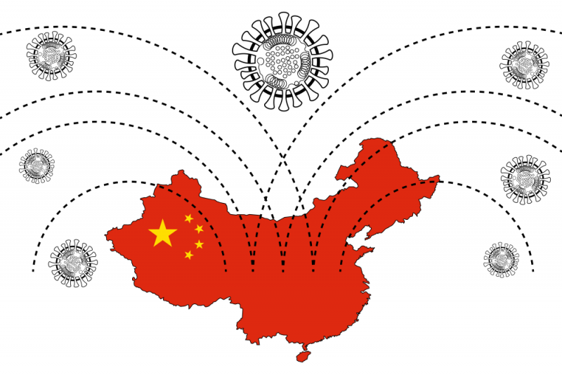 image of coronavirus connected to China